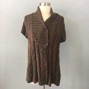 Sonoma Short Sleeve Brown cable knit Sweater
